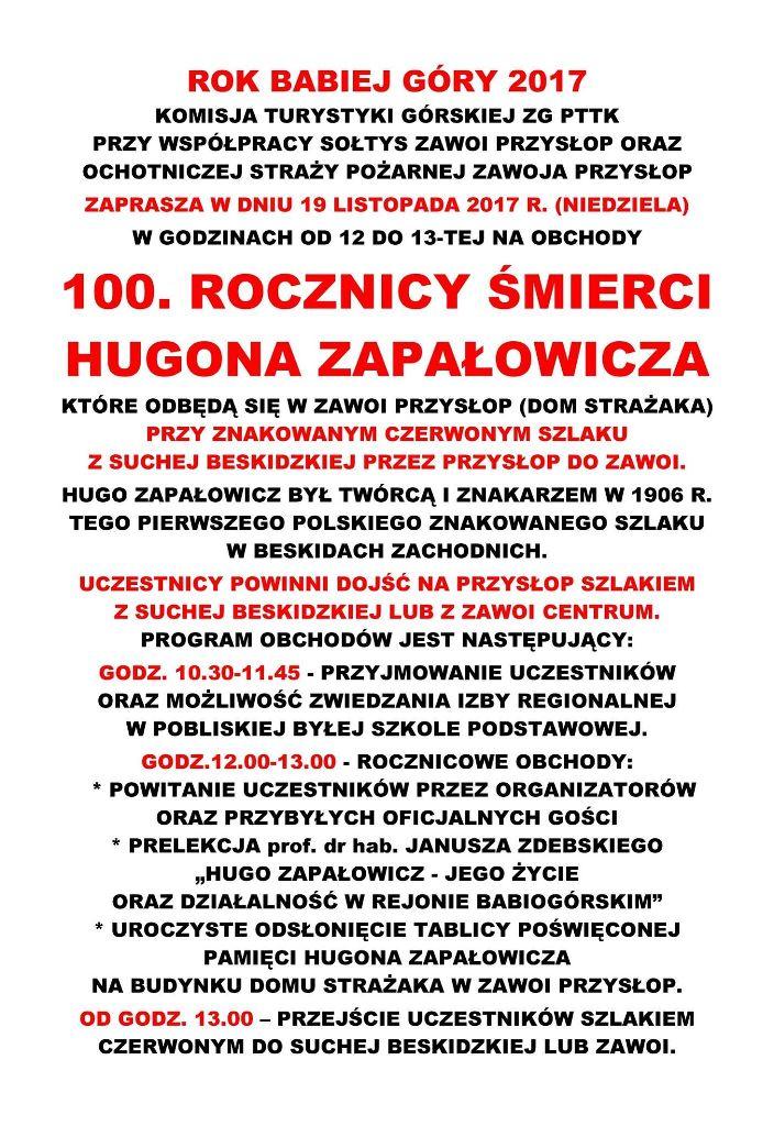 100 lecie śmierci Hugona Zapałowicza
